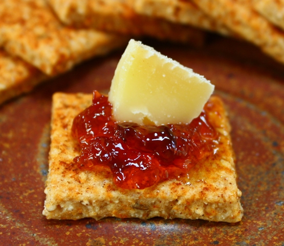 Whole wheat crackers with red pepper jelly