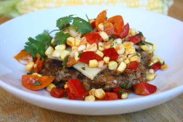 South of the border burgers with corn salsa