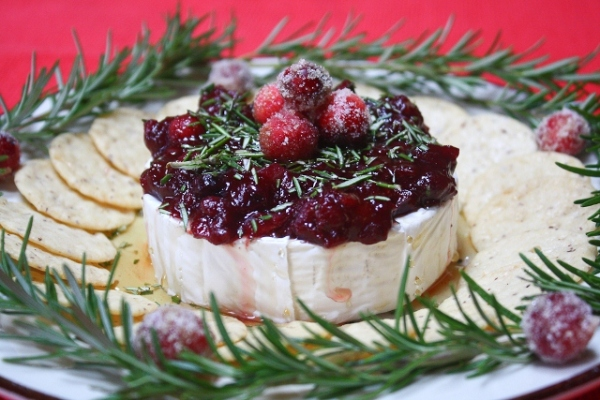 Brie with cranberry and rosemary