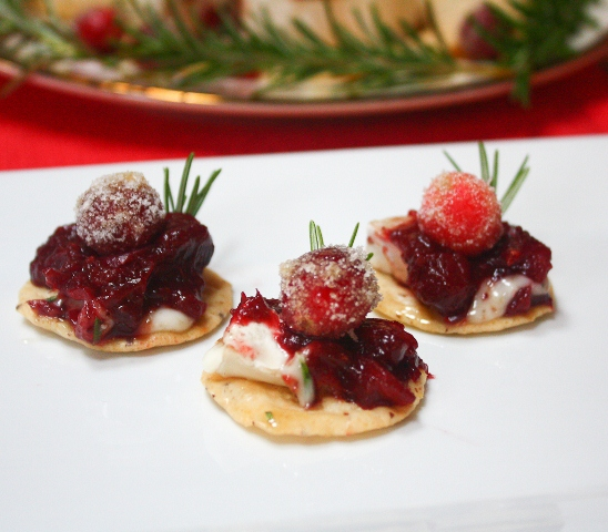 Sparkling Cranberries on brie