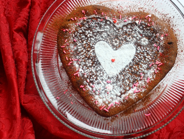Valentines day chocolate heart cake