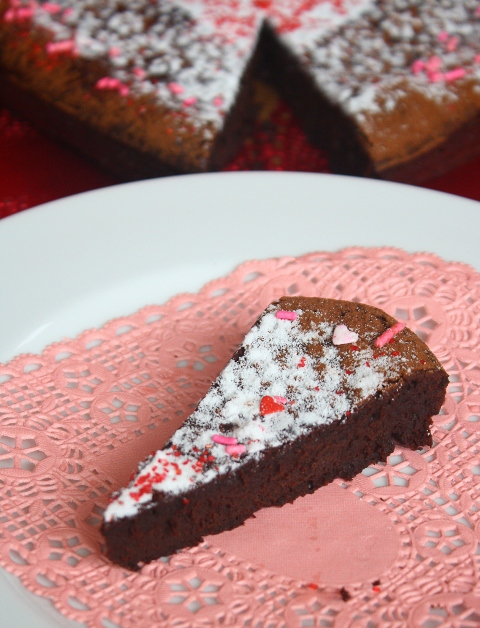 Slice of chocolate heart cake