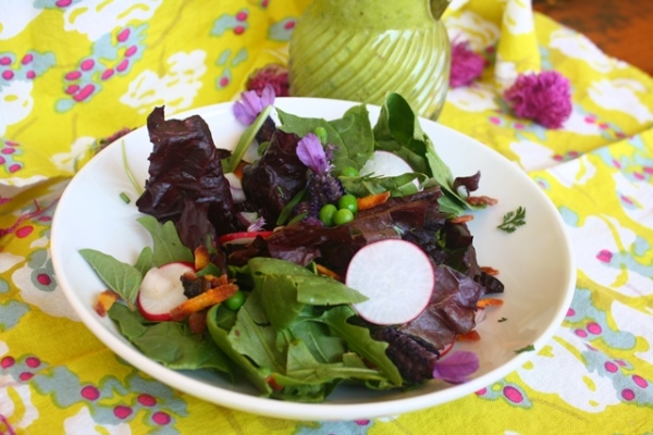 Spring fling salad with pea vinaigrette.
