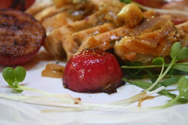 Sautéed tarragon chicken with radishes