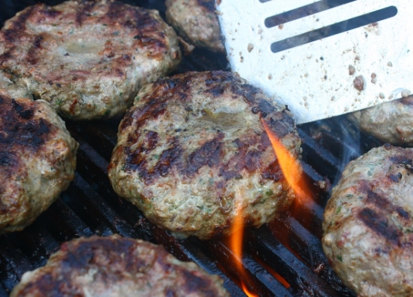 Spicy lamb and elk burgers