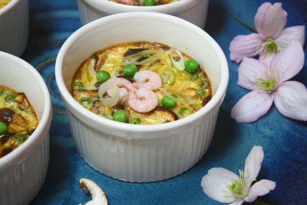 Chawan Mushi with shrimp and spring peas