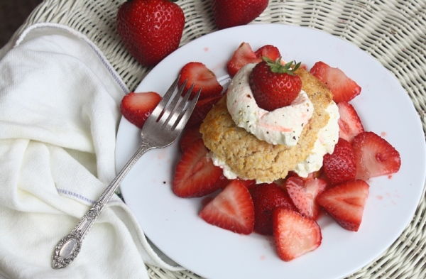 Strawberry shortcake with balsamic balck pepper strawberries