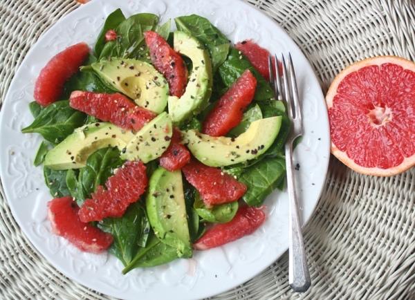 Grapefruit and Avocado salad with grapefruit vinaigrette