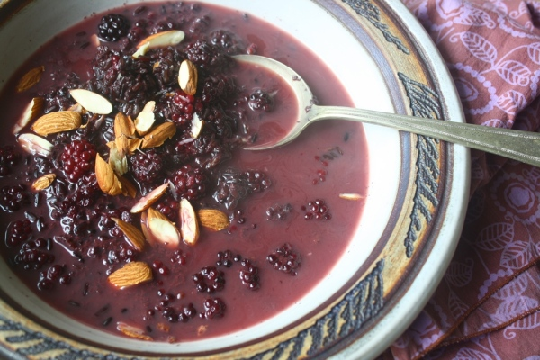 Beautiful black rice porridge made from ancient grains